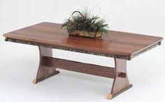 Rustic Trestle Dining Table, Log Furniture, Cabin Dinette   Woodland Creek  Furniture