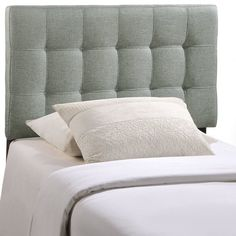 Introduce some boxy pizzazz with the lavish design of the Grady headboard. Intended to be versatile for a wide range of modern bed styles, Grady's deep tufting, and carefully aligned trim, present a uniform piece meant to cast prominence upon your room. Fully upholstered in padded fabric, Grady is a narrow piece meant to convey a strong sense of expansiveness within your entire surroundings. Showcasing neutral upholstery and gridded tufting, this streamlined headboard is the ideal backdro...
