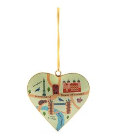 Tinker Tailor Vintage London Map Tower of London Heart Tree Decoration…