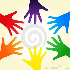 Vector illustration of colorful rainbow ring of hands symbolizing a diverse community - LGBT - for gay, lesbian, bisexual or transgender relationship, love or sexuality