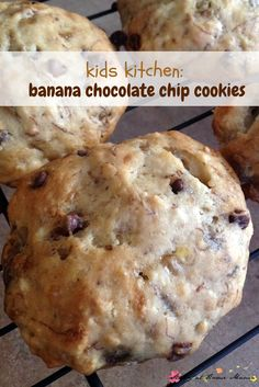 Kids Kitchen:Banana Chocolate Chip Cookies - an easy soft cookie recipe that kids can help make!