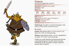 Prepare for the goblin invasion! Goblins are mythical creatures dating back at least as far as the middle ages, and i. Dnd Monsters, Leather Armor, Mythical Creatures, Goblin, Middle Ages, Paper, Mini, Inspiration, Biblical Inspiration