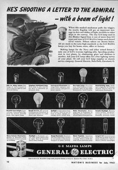 1943 vintage WW2 ad for GE Mazda Lamps