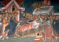 Commentary On The Second Sunday of Great Lent ,The Paralytic Borne by Four. Mark From The Explanation of the Gospel of St. Mark by Blessed Theophylact, Archbishop of Ochrid and Bulgaria. Byzantine Icons, Byzantine Art, John Chrysostom, The Son Of Man, The Monks, Orthodox Icons, Russian Art, Religious Art, Lent