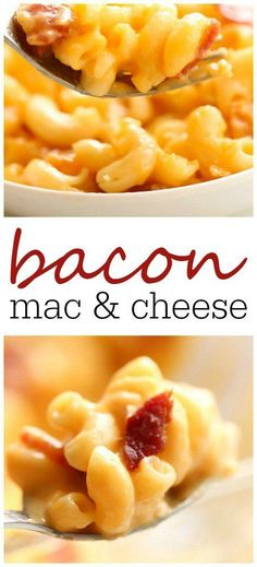 Homemade macaroni and cheese with bacon and three kinds of cheeses.) when you serve this Bacon Mac and Cheese! Mac N Cheese Bacon, Cheesy Mac And Cheese, Best Mac And Cheese, Bacon Pasta, Macaroni And Cheese, Best Bacon, Side Dish Recipes, Side Dishes, Recipes Dinner