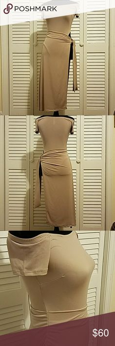 Bodysuit with Wrap Taupe Dress Amazing off-the-shoulder club dress or wear on a sexy night out with your man! Taupe Dresses