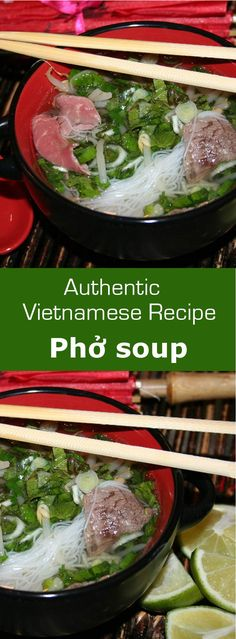 Phở is a traditional Vietnamese rice noodle soup consisting of herbs, broth and beef or chicken. #soup #vietnam