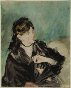 """Édouard Manet: Portrait of Berthe Morisot Watercolor, over traces of graphite, on off-white wove paper. """"I've never seen this one before, so beautiful"""""""