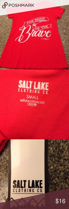 """Red Tee size small """"The home of the brave"""" USA The home of the brave USA graphic tee. Red. Soft. High quality shirt. Vneck Salt Lake Clothing Tops Tees - Short Sleeve"""