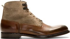 Burnished leather ankle-high boots in brown. Almond toe. Tonal lace-up closure. Upper body in tan suede. Tonal stitching.