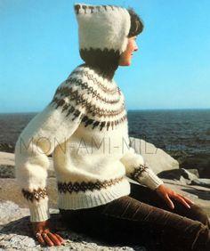 "Vtg Knitting Pattern UNISEX ICELANDIC HOODED SWEATER JUMPER Ladies Mens 32-46"""