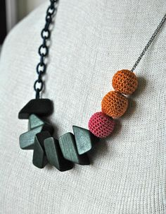 Colorful Crocheted Bead & Chunky Wood Statement by birdofvirtue