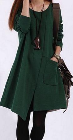 Autumn dress | Asymmetrical Long Sleeves Cotton Dress