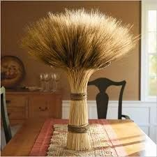 tie a bunch of wheat stalks together for a pretty fall centerpiece