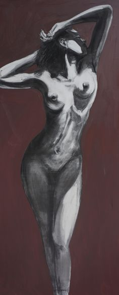 Naked Beauty, Figurative, charcoal and oil on canvas, Gerard Byrne, www.gerardbyrneartist.com SOLD