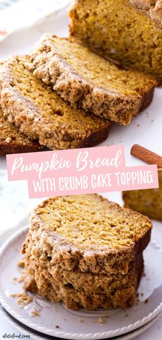 Dec 9 2019 - This easy Pumpkin Bread recipe is made with a crumb cake topping (aka a streusel topping) making this a s. Thanksgiving Desserts Easy, Great Desserts, Fall Desserts, Dessert Recipes, Recipes Dinner, Healthy Desserts, Dessert Ideas, Moist Pumpkin Bread, Pumpkin Coffee Cakes