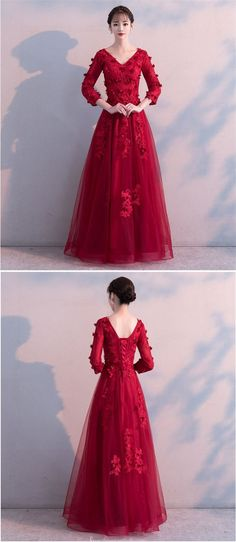 red tulle long sleeve formal dress #longsleeveformaldress #formaldress Tulle Lace, Lace Up, Dinner Gowns, Formal Dresses With Sleeves, V Neck Dress, Appliques, Ball Gowns, Prom Dresses, Floor