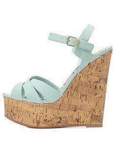 Crisscrossed Platform Wedge Sandals: Charlotte Russe #CRshoecloset #wedges