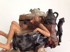 "Hillbilly Figurine Funny Redneck Moonshiner Taking Bath With His Still 4"" High"