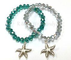 Crystal Starfish Beaded Bracelet by RandRsWristCandy on Etsy, $7.00