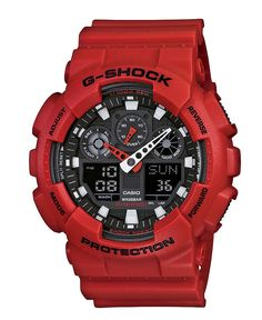 G-Shock Watch, Men's Analog Digital Red Resin Strap GA100B-4 - G-Shock - Jewelry & Watches - Macy's