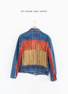 DIY fringe jean jacket idea! #clothing #jeanjacket #womens #fall #fringe #fashion #diy