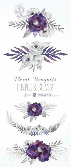 This set of 5 high quality hand painted watercolor floral bouquets in Hires. Purple and grey color palette. Perfect graphic for wedding invitations, Purple Wedding Bouquets, Purple Wedding Invitations, Floral Bouquets, Wedding Flowers, Diy Flowers, Wedding Colors, Floral Flowers, Clipart, Watercolor Flowers