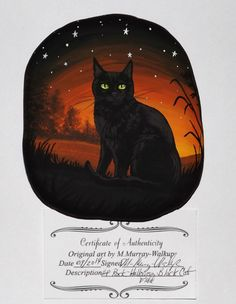 Hand Painted River Rock Black Cat Witch Halloween Witch Pet Original Painting in Art, Artists (Self-Representing), Paintings | eBay