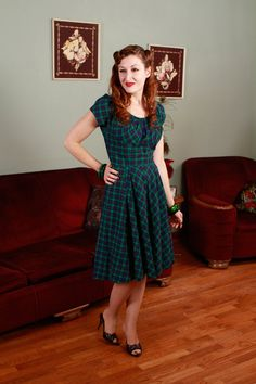 Vintage 1950s Dress  Green and Navy Plaid Dress with by FabGabs, $134.00