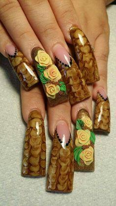 Duck feet nails | flare tips |  nail art design | long nails | for fall