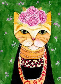 CAT Art Frida Catlo in Orange Original Cat Folk Art Watercolor Painting by KilkennyCatArt