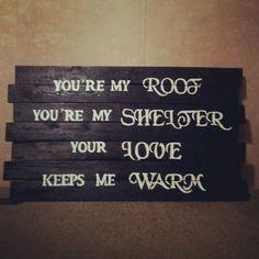 scrap pieces of wood, paint, and trevor hall lyrics... beautiful.