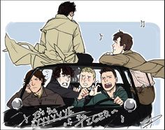 Superwholock- I love how Cas is sitting on the roof.