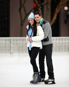 Cute couple ice skating