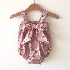 Baby romper, girls romper, sweet baby jane romper with bow using Tilda Fabric
