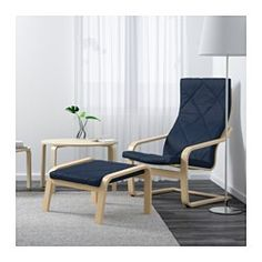 IKEA - POÄNG, Chair, Edum dark blue, birch veneer, , Layer-glued bent birch frame gives comfortable resilience.To sit even more comfortably and relaxed, you can use the armchair together with a POÄNG footstool.The high back provides good support for your neck.10-year limited warrranty. Read about the terms in the limited warranty brochure.The cover is easy to keep clean as it is removable and can be machine washed.