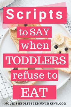 Avoid the mealtime meltdown with your picky eater by using these scripts for common mealtime scenarios.  If your child has trouble coming to the table, you're chasing them around with a spoon, is crying when they are asked to take a bite, throws food on the floor, barely eater a few bites before being full, or is starting to even refuse to eat old favourites, you'll have a framework to address these common mealtime scenarios with understanding and compassions and without using icky methods. Toddler Fun, Toddler Meals, Toddler Activities, Kids And Parenting, Parenting Hacks, Baby Food Recipes, New Recipes, Conscious Parenting, Baby Led Weaning