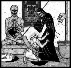 by Alexander Heir Arte Horror, Horror Art, Crane, Illustrations, Illustration Art, Russian Tattoo, Spooky Tattoos, Bizarre Art, Scary Art
