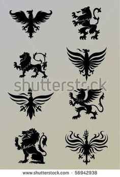 Heraldry set - stock vector