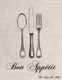 Clip Art Designs Transfer Digital File Vintage Download DIY Scrapbook Shabby Chic Kitchen French Bon Appetit Fork Knife Spoon No. 0375