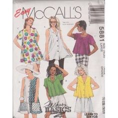Misses Trapeze Blouse In Two Lengths McCall's Sewing Pattern 5881 (Size:18-20)
