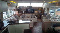 A shot of the galley and salon of the Prestige 750 on test day.