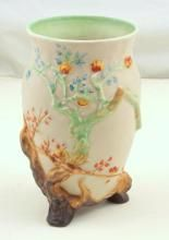Clarice Cliff Vase with Indian Tree Decoration. Factory marks to base. Height 19cm.