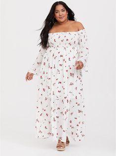 7ffde89bd70 Ivory Floral Challis Off Shoulder Maxi Dress