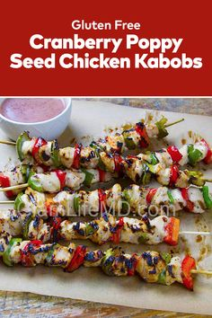 Looking for a boneless chicken recipe or skinless chicken recipe ideas? Try out the Cranberry Poppy Seed Chicken Kabobs, recipes with chicken that has awesome aroma and flavor. Skinless Chicken Recipe, Boneless Chicken, Chicken Kabob Recipes, Chicken Kabobs, Poppy Seed Chicken, Delicious Dinner Recipes, Gluten Free Chicken, Family Meals, Recipe Ideas
