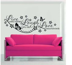 Olivia Wall Decals Quotes with Butterflies Flowers - Live Every Moment, Laugh Every Day, Love Beyond Words -Vinyl Removable Wall Stickers Quotes Inspirational Sayings Lettering Wall Art Decor for Children Kids Bedroom Nursery Living Room Home Decorations Olivia http://www.amazon.com/dp/B00GZHI2K2/ref=cm_sw_r_pi_dp_5b2kub1WYRZZ8