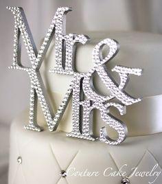 Mr & Mrs Cake Topper covered in Swarovski Crystals!
