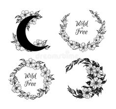 Hand Drawn Vector Illustration - Wreaths And Moon With Flowers A Stock Vector - Illustration of drawing, limitless: 85536346 Rose Tattoos, Flower Tattoos, Hand Tattoos, Floral Frames, Framed Tattoo, Hand Drawn Flowers, Drawing Flowers, Moon Drawing, Wreath Drawing
