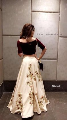 Designer dresses indian - Embroidery work skirt and crop top very stylish dress for any occasion – Designer dresses indian Lehenga Choli Designs, Lehenga Designs Latest, Lengha Design, Indian Lehenga, Black Lehenga, Indian Gowns Dresses, Pakistani Dresses, Pakistani Party Wear, Party Wear Lehenga