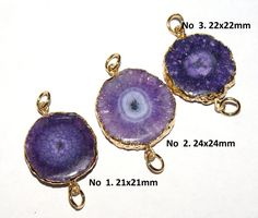 1Pc 21-24 mm 24Kt Gold Electroplated Purple by RareGemsNJewels